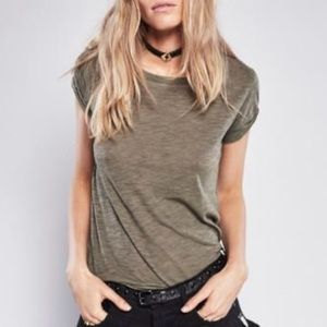 Free People Army Green Clare Tee